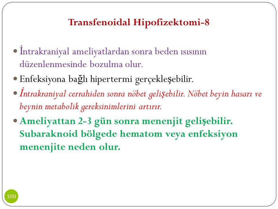 Transfenoidal Hipofizektomi-8 İ ntrakraniyal ameliyatlardan sonra beden ısısının düzenlenmesinde bozulma olur. Enfeksiyona ba ğ lı hipertermi gerçekle