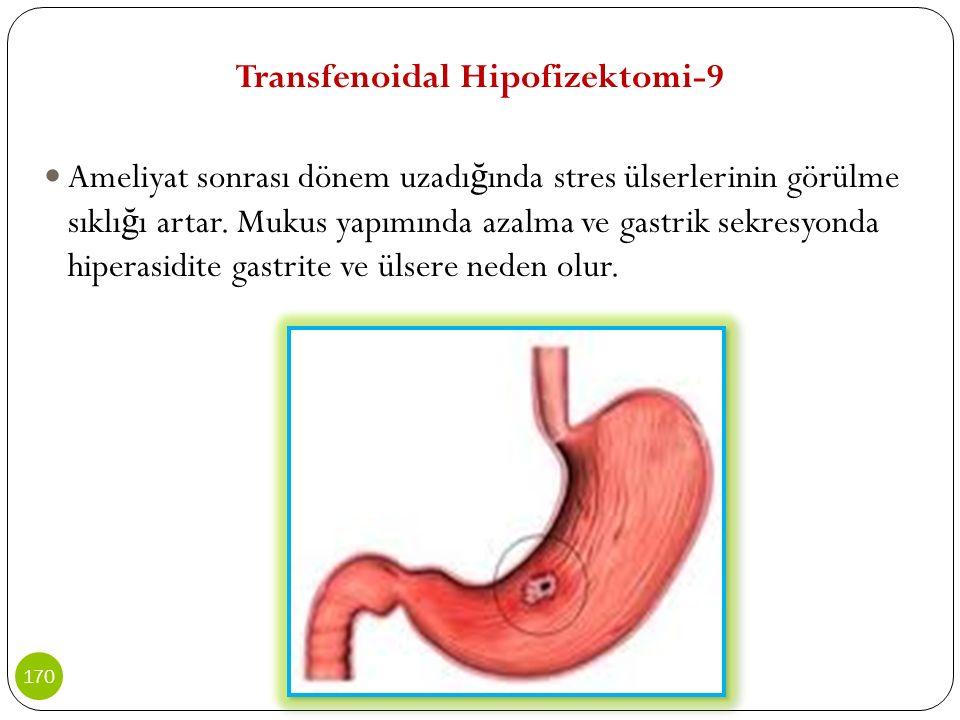 Transfenoidal Hipofizektomi-9 Ameliyat sonrası dönem uzadı ğ ında stres ülserlerinin görülme sıklı ğ ı artar. Mukus yapımında azalma ve gastrik sekres