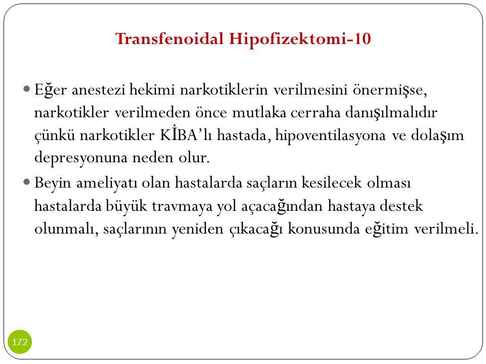 Transfenoidal Hipofizektomi-10 E ğ er anestezi hekimi narkotiklerin verilmesini önermi ş se, narkotikler verilmeden önce mutlaka cerraha danı ş ılmalı