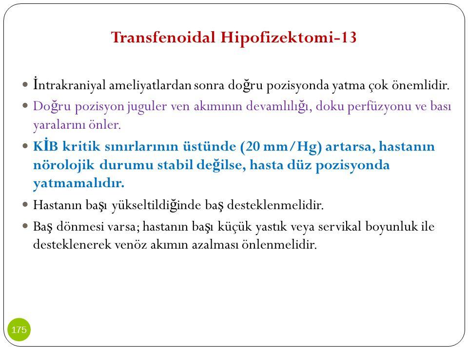 Transfenoidal Hipofizektomi-13 İ ntrakraniyal ameliyatlardan sonra do ğ ru pozisyonda yatma çok önemlidir. Do ğ ru pozisyon juguler ven akımının devam