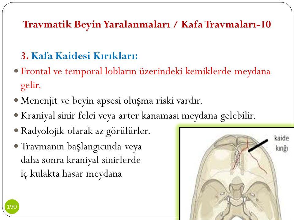 Travmatik Beyin Yaralanmaları / Kafa Travmaları-10 3. Kafa Kaidesi Kırıkları: Frontal ve temporal lobların üzerindeki kemiklerde meydana gelir. Menenj
