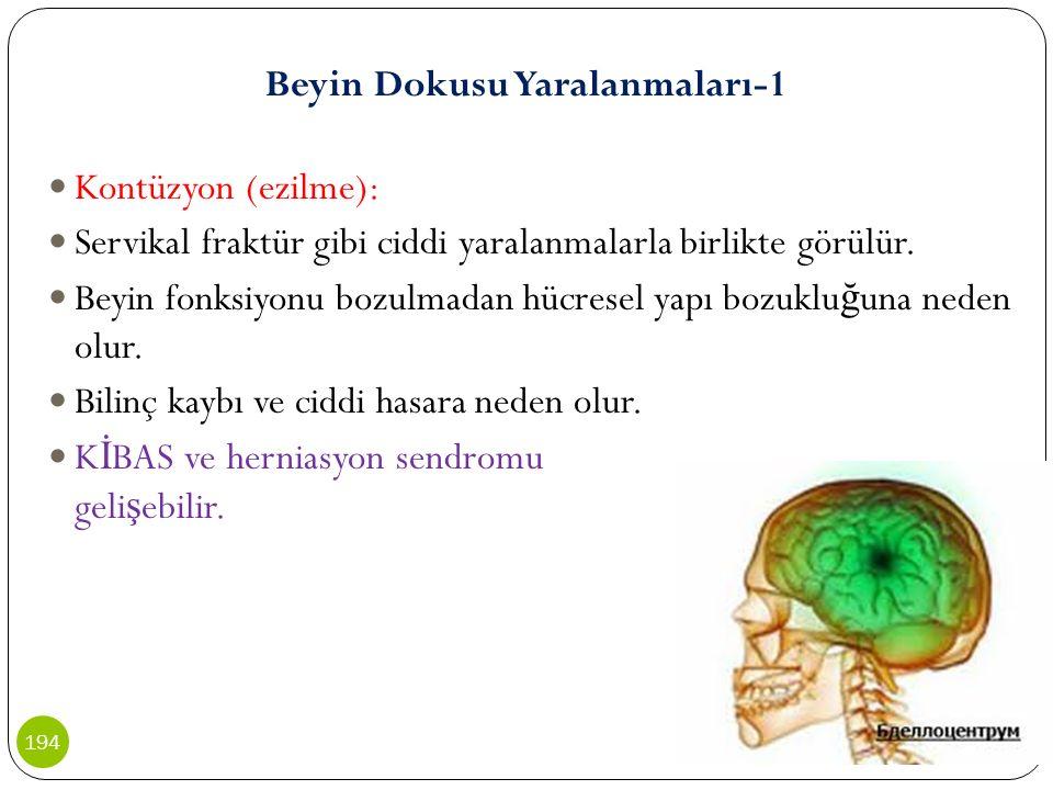 Beyin Dokusu Yaralanmaları-1 Kontüzyon (ezilme): Servikal fraktür gibi ciddi yaralanmalarla birlikte görülür. Beyin fonksiyonu bozulmadan hücresel yap