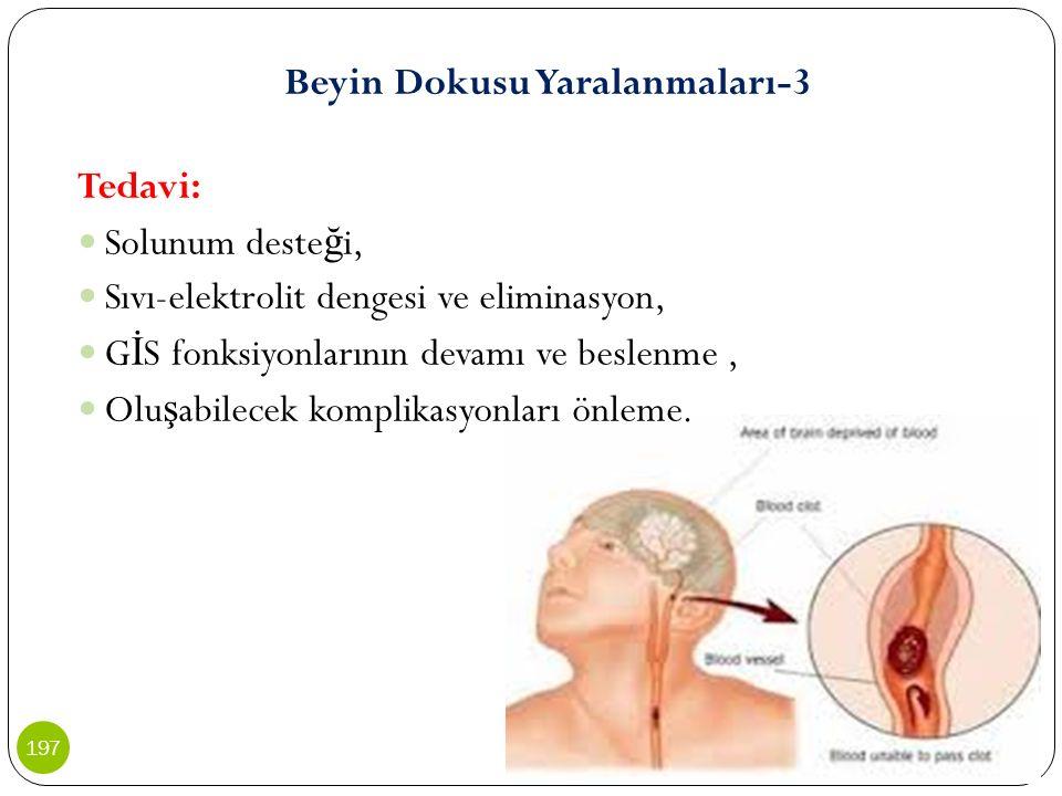 Beyin Dokusu Yaralanmaları-3 Tedavi: Solunum deste ğ i, Sıvı-elektrolit dengesi ve eliminasyon, G İ S fonksiyonlarının devamı ve beslenme, Olu ş abile
