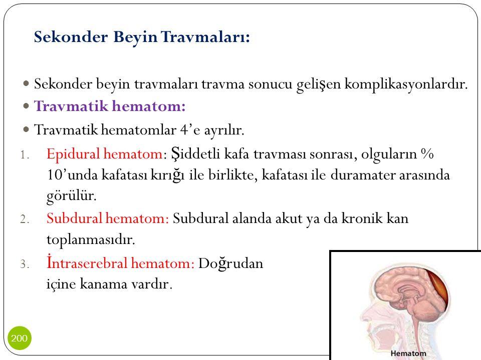 Sekonder Beyin Travmaları: Sekonder beyin travmaları travma sonucu geli ş en komplikasyonlardır. Travmatik hematom: Travmatik hematomlar 4'e ayrılır.