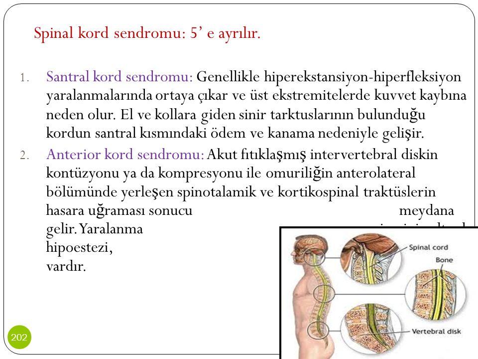 Spinal kord sendromu: 5' e ayrılır. 1. Santral kord sendromu: Genellikle hiperekstansiyon-hiperfleksiyon yaralanmalarında ortaya çıkar ve üst ekstremi