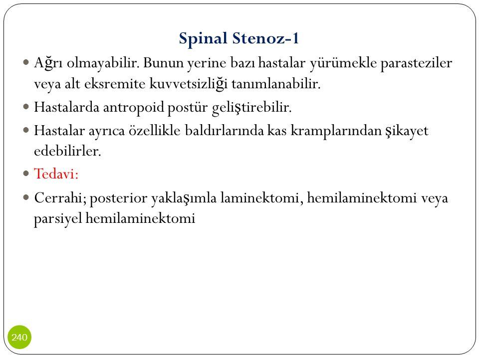 Spinal Stenoz-1 A ğ rı olmayabilir. Bunun yerine bazı hastalar yürümekle parasteziler veya alt eksremite kuvvetsizli ğ i tanımlanabilir. Hastalarda an