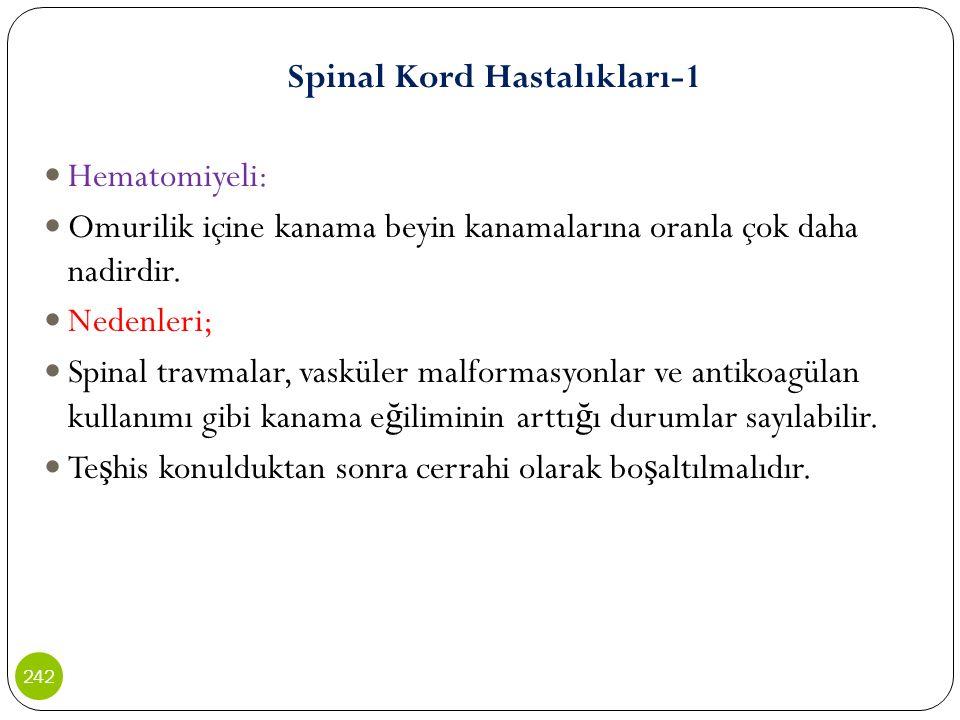 Spinal Kord Hastalıkları-1 Hematomiyeli: Omurilik içine kanama beyin kanamalarına oranla çok daha nadirdir. Nedenleri; Spinal travmalar, vasküler malf