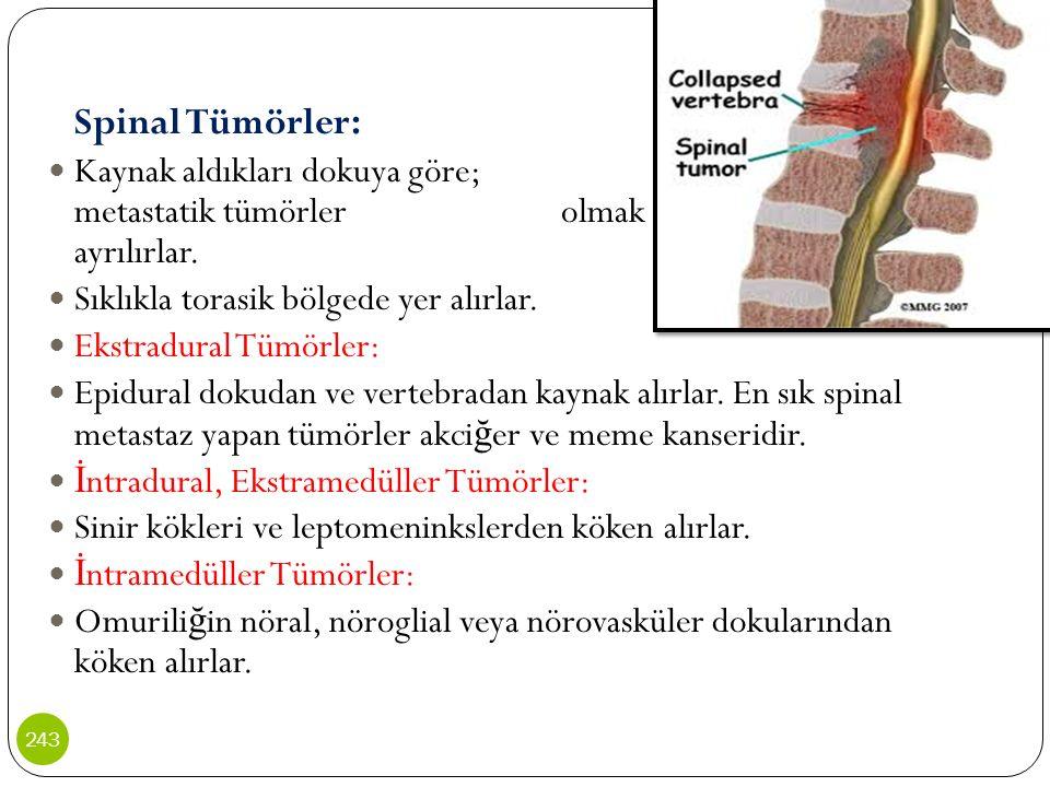 Spinal Tümörler: Kaynak aldıkları dokuya göre; primer ve metastatik tümörler olmak üzere ikiye ayrılırlar. Sıklıkla torasik bölgede yer alırlar. Ekstr