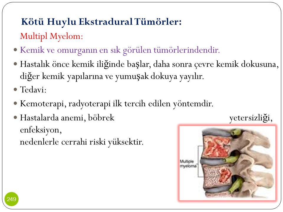 Kötü Huylu Ekstradural Tümörler: Multipl Myelom: Kemik ve omurganın en sık görülen tümörlerindendir. Hastalık önce kemik ili ğ inde ba ş lar, daha son