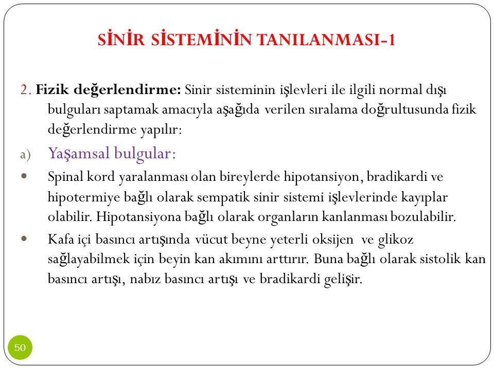 S İ N İ R S İ STEM İ N İ N TANILANMASI-1 2. Fizik de ğ erlendirme: Sinir sisteminin i ş levleri ile ilgili normal dı ş ı bulguları saptamak amacıyla a