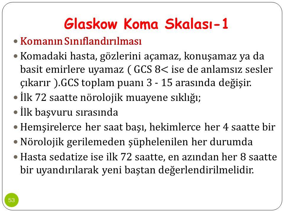 Glaskow Koma Skalası-1 Komanın Sınıflandırılması Komadaki hasta, gözlerini açamaz, konuşamaz ya da basit emirlere uyamaz ( GCS 8< ise de anlamsız sesl