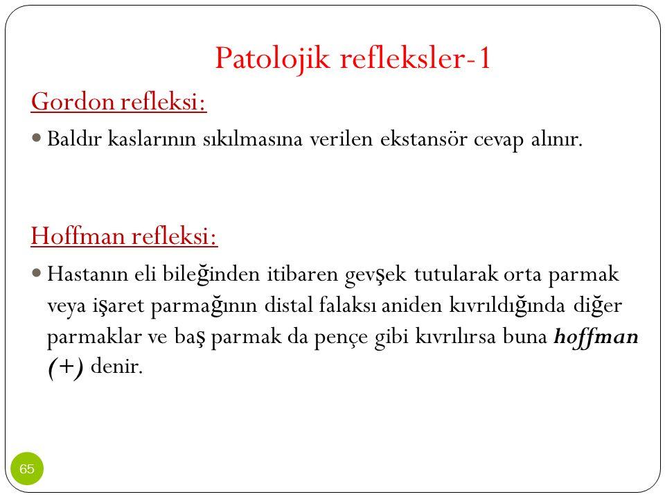 Patolojik refleksler-1 Gordon refleksi: Baldır kaslarının sıkılmasına verilen ekstansör cevap alınır. Hoffman refleksi: Hastanın eli bile ğ inden itib