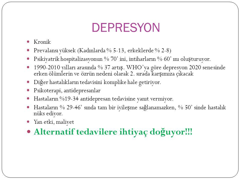 DEPRESYON Kronik Prevalansı yüksek (Kadınlarda % 5-13, erkeklerde % 2-8) Psikiyatrik hospitalizasyonun % 70' ini, intiharların % 60' ını olu ş turuyor