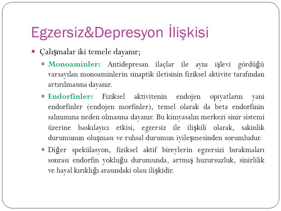 Egzersiz&Depresyon İlişkisi Çalı ş malar iki temele dayanır; Monoaminler: Antidepresan ilaçlar ile aynı i ş levi gördü ğ ü varsayılan monoaminlerin si