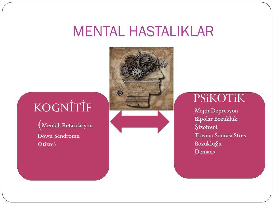 MENTAL HASTALIKLAR KOGN İ T İ F ( Mental Retardasyon Down Sendromu Otizm) PSiKOTiK Major Depresyon Bipolar Bozukluk Ş izofreni Travma Sonrası Stres Bozuklu ğ u Demans