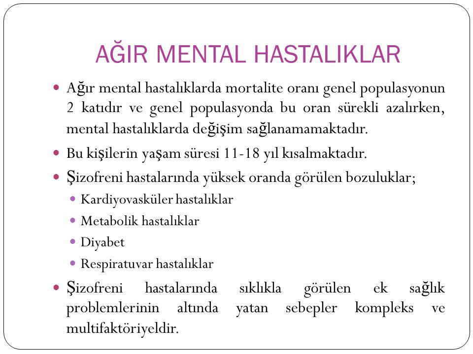AĞIR MENTAL HASTALIKLAR A ğ ır mental hastalıklarda mortalite oranı genel populasyonun 2 katıdır ve genel populasyonda bu oran sürekli azalırken, mental hastalıklarda de ğ i ş im sa ğ lanamamaktadır.