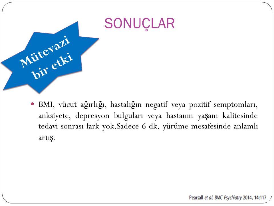 BMI, vücut a ğ ırlı ğ ı, hastalı ğ ın negatif veya pozitif semptomları, anksiyete, depresyon bulguları veya hastanın ya ş am kalitesinde tedavi sonras