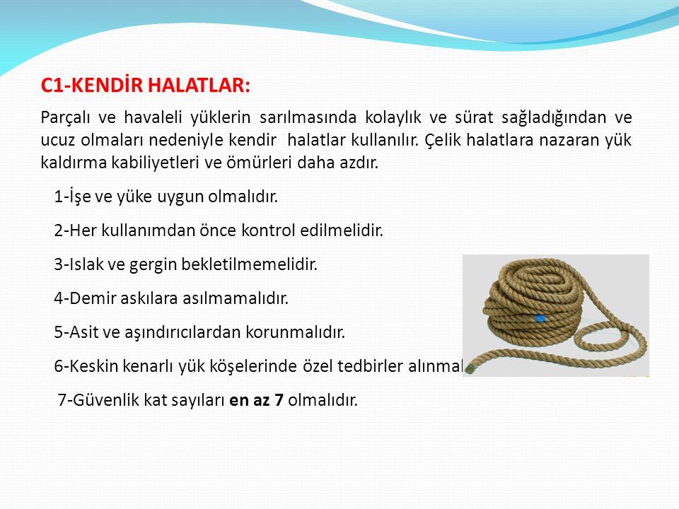 C1-KENDİR HALATLAR: Parçalı ve havaleli yüklerin sarılmasında kolaylık ve sürat sağladığından ve ucuz olmaları nedeniyle kendir halatlar kullanılır.
