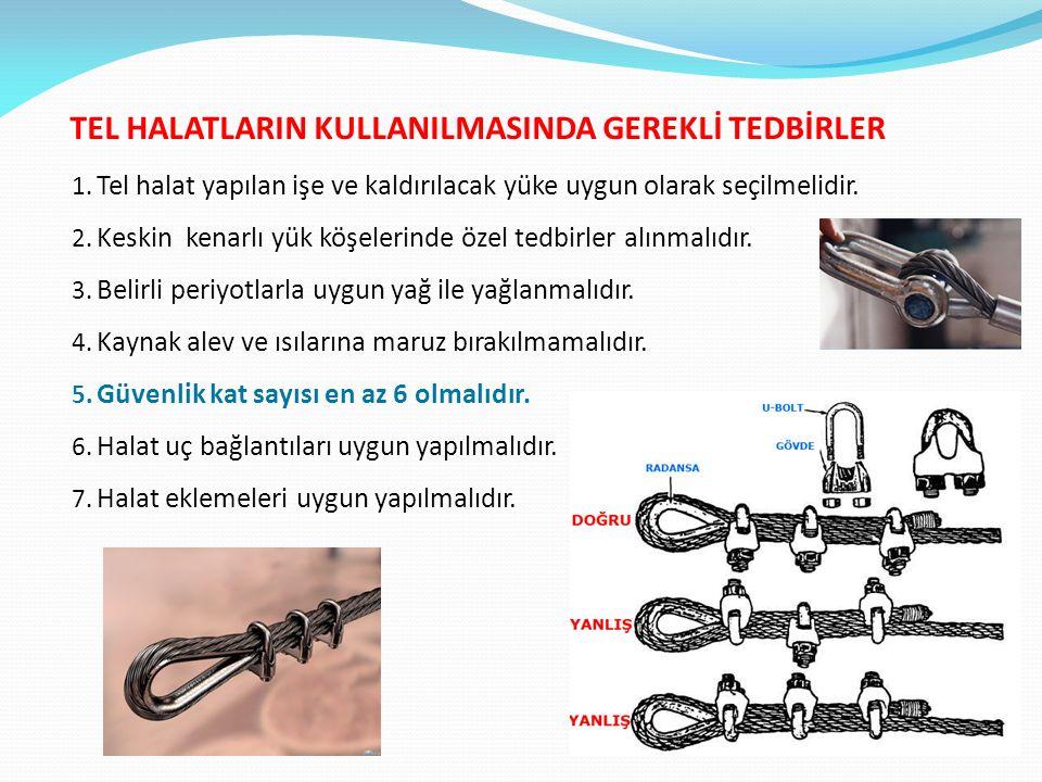 TEL HALATLARIN KULLANILMASINDA GEREKLİ TEDBİRLER 1. Tel halat yapılan işe ve kaldırılacak yüke uygun olarak seçilmelidir. 2. Keskin kenarlı yük köşele
