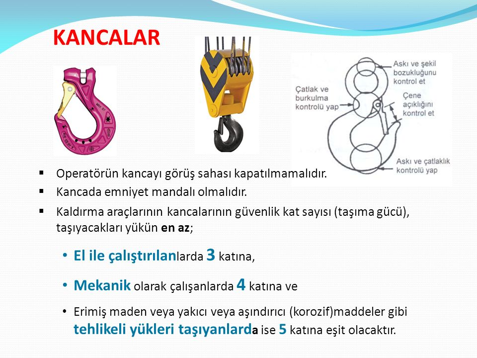KANCALAR  Operatörün kancayı görüş sahası kapatılmamalıdır.  Kancada emniyet mandalı olmalıdır.  Kaldırma araçlarının kancalarının güvenlik kat say
