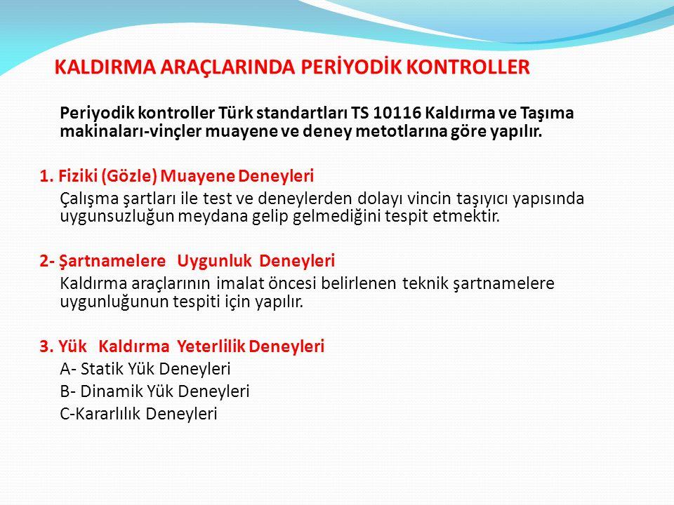 KALDIRMA ARAÇLARINDA PERİYODİK KONTROLLER Periyodik kontroller Türk standartları TS 10116 Kaldırma ve Taşıma makinaları-vinçler muayene ve deney metotlarına göre yapılır.