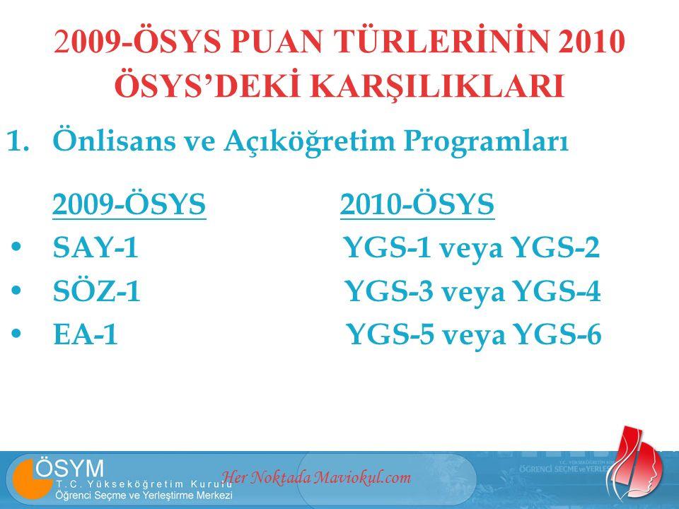 Her Noktada Maviokul.com 2009-ÖSYS PUAN TÜRLERİNİN 2010 ÖSYS'DEKİ KARŞILIKLARI 1.Önlisans ve Açıköğretim Programları 2009-ÖSYS 2010-ÖSYS SAY-1 YGS-1 veya YGS-2 SÖZ-1 YGS-3 veya YGS-4 EA-1 YGS-5 veya YGS-6