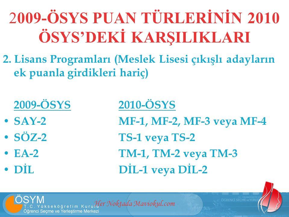 Her Noktada Maviokul.com 2. Lisans Programları (Meslek Lisesi çıkışlı adayların ek puanla girdikleri hariç) 2009-ÖSYS2010-ÖSYS SAY-2MF-1, MF-2, MF-3 v