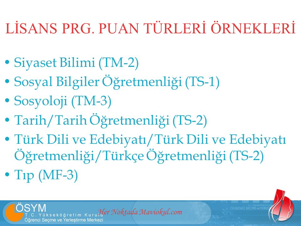 Her Noktada Maviokul.com Siyaset Bilimi (TM-2) Sosyal Bilgiler Öğretmenliği (TS-1) Sosyoloji (TM-3) Tarih/Tarih Öğretmenliği (TS-2) Türk Dili ve Edebiyatı/Türk Dili ve Edebiyatı Öğretmenliği/Türkçe Öğretmenliği (TS-2) Tıp (MF-3) LİSANS PRG.