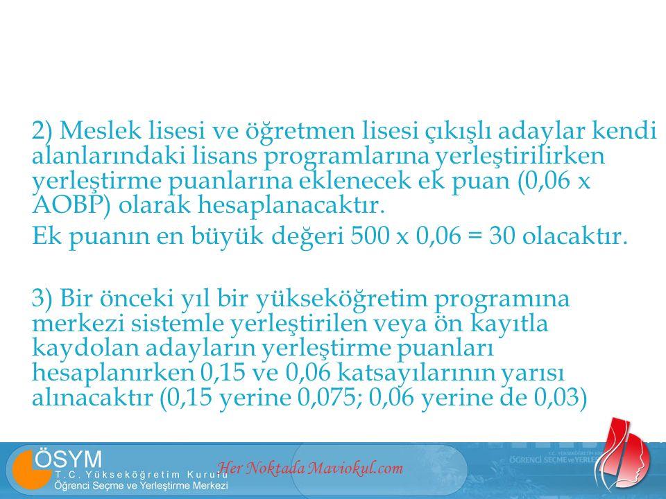 Her Noktada Maviokul.com 2) Meslek lisesi ve öğretmen lisesi çıkışlı adaylar kendi alanlarındaki lisans programlarına yerleştirilirken yerleştirme pua