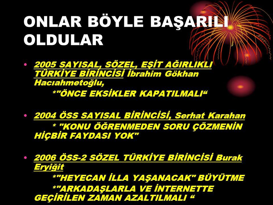 ONLAR BÖYLE BAŞARILI OLDULAR 2005 SAYISAL, SÖZEL, EŞİT AĞIRLIKLI TÜRKİYE BİRİNCİSİ İbrahim Gökhan Hacıahmetoğlu, *