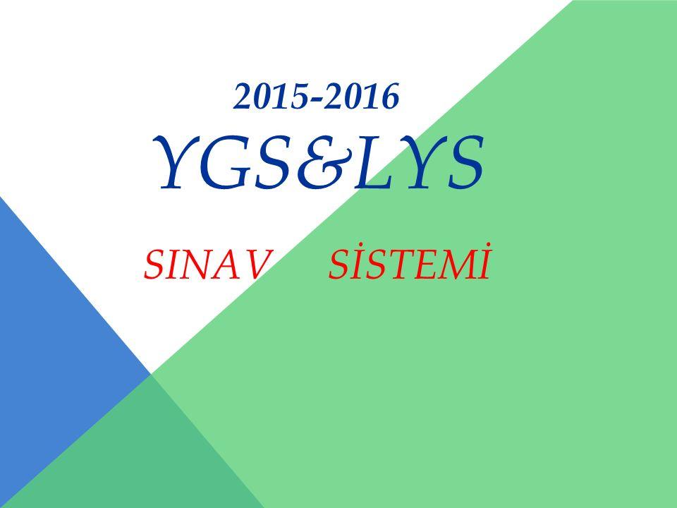2015-2016 YGS&LYS SINAV SİSTEMİ