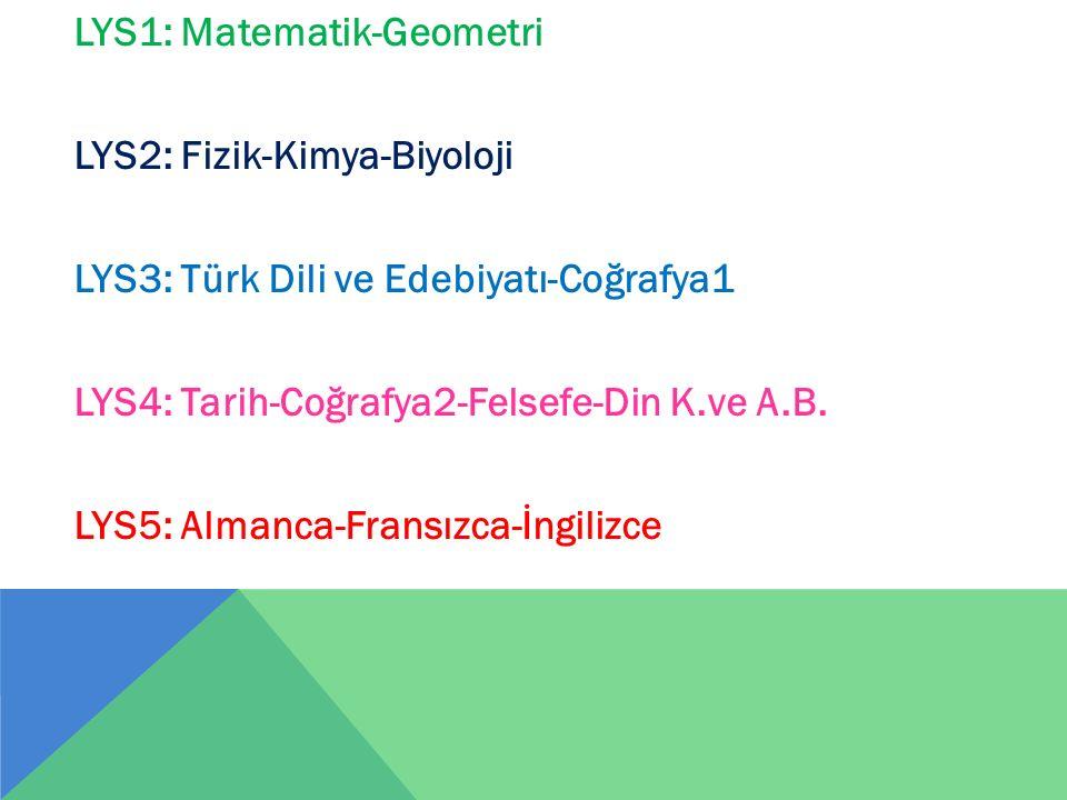 LYS1: Matematik-Geometri LYS2: Fizik-Kimya-Biyoloji LYS3: Türk Dili ve Edebiyatı-Coğrafya1 LYS4: Tarih-Coğrafya2-Felsefe-Din K.ve A.B. LYS5: Almanca-F