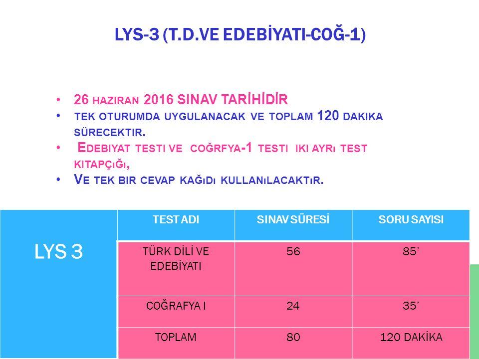 LYS-3 (T.D.VE EDEBİYATI-COĞ-1) LYS 3 TEST ADISINAV SÜRESİSORU SAYISI TÜRK DİLİ VE EDEBİYATI 5685' COĞRAFYA I2435' TOPLAM80120 DAKİKA 26 HAZIRAN 2016 S
