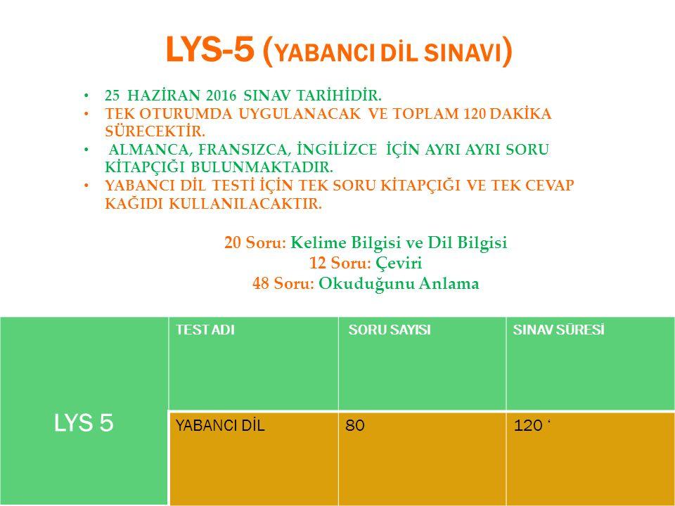 LYS-5 ( YABANCI DİL SINAVI ) LYS 5 TEST ADI SORU SAYISISINAV SÜRESİ YABANCI DİL80120 ' 25 HAZİRAN 2016 SINAV TARİHİDİR.