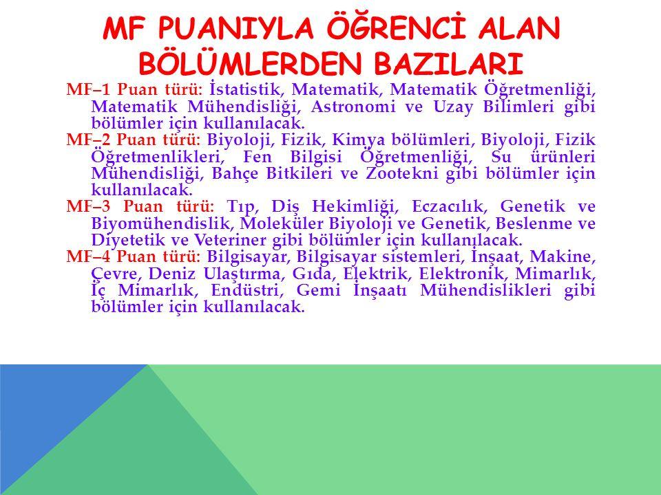 MF PUANIYLA ÖĞRENCİ ALAN BÖLÜMLERDEN BAZILARI MF–1 Puan türü: İstatistik, Matematik, Matematik Öğretmenliği, Matematik Mühendisliği, Astronomi ve Uzay