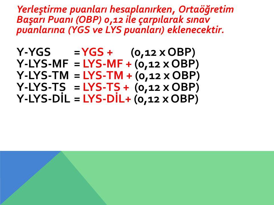Yerleştirme puanları hesaplanırken, Ortaöğretim Başarı Puanı (OBP) 0,12 ile çarpılarak sınav puanlarına (YGS ve LYS puanları) eklenecektir. Y-YGS = YG