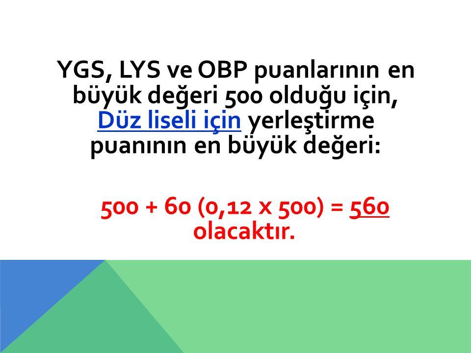YGS, LYS ve OBP puanlarının en büyük değeri 500 olduğu için, Düz liseli için yerleştirme puanının en büyük değeri: 500 + 60 (0,12 x 500) = 560 olacakt