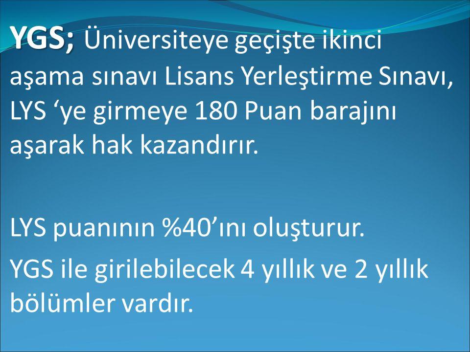 YGS; YGS; Üniversiteye geçişte ikinci aşama sınavı Lisans Yerleştirme Sınavı, LYS 'ye girmeye 180 Puan barajını aşarak hak kazandırır. LYS puanının %4