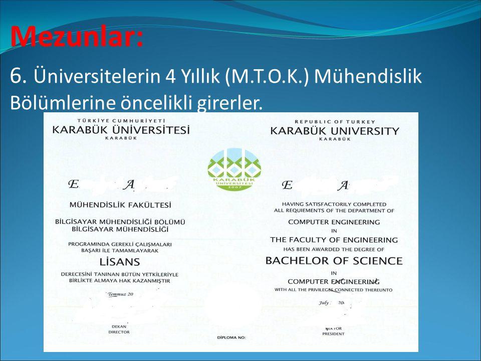 Mezunlar: 6. Üniversitelerin 4 Yıllık (M.T.O.K.) Mühendislik Bölümlerine öncelikli girerler.