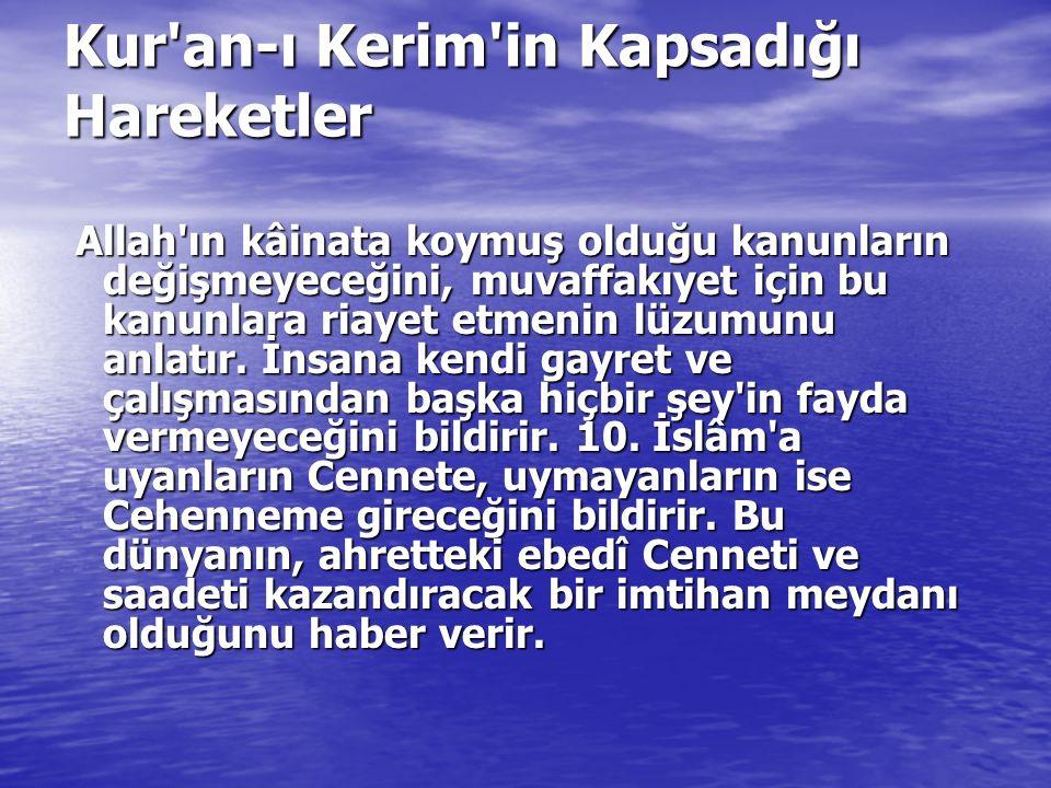 Kur'an-ı Kerim'in Kapsadığı Hareketler Allah'ın kâinata koymuş olduğu kanunların değişmeyeceğini, muvaffakıyet için bu kanunlara riayet etmenin lüzumu