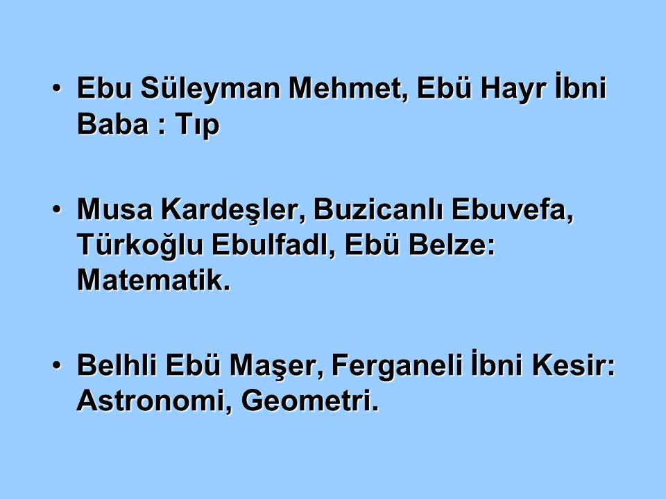 Ebu Süleyman Mehmet, Ebü Hayr İbni Baba : TıpEbu Süleyman Mehmet, Ebü Hayr İbni Baba : Tıp Musa Kardeşler, Buzicanlı Ebuvefa, Türkoğlu Ebulfadl, Ebü B