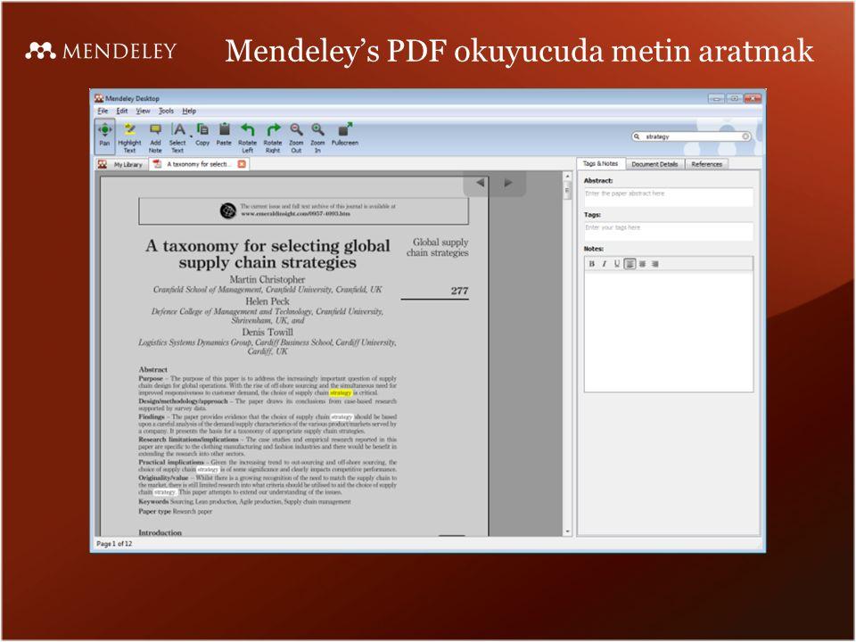 Mendeley's PDF okuyucuda metin aratmak