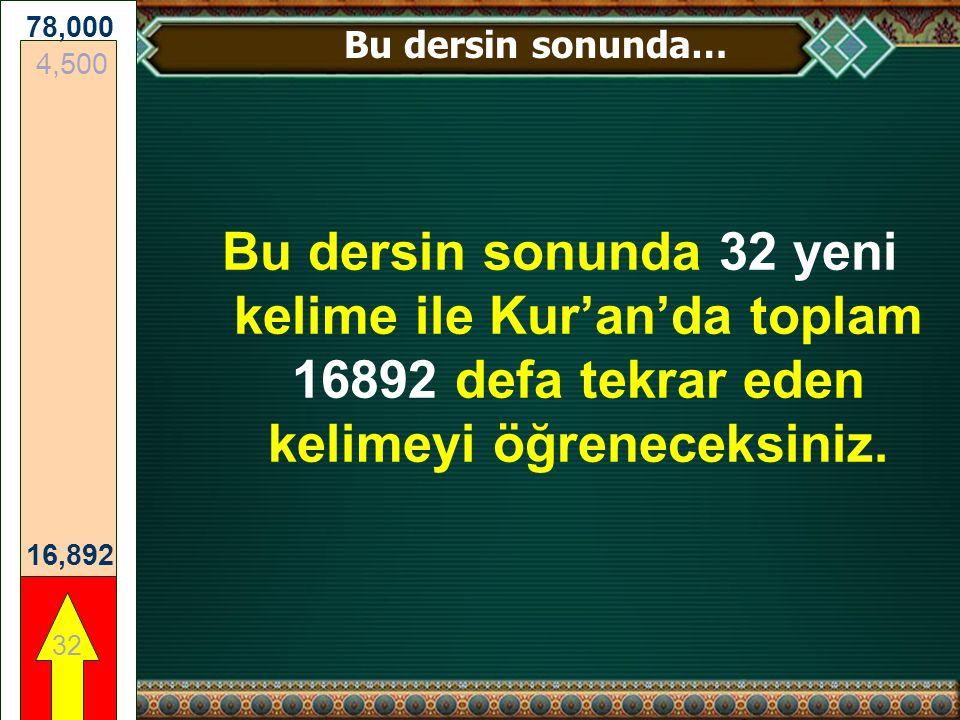 Bu dersin sonunda 32 yeni kelime ile Kur'an'da toplam 16892 defa tekrar eden kelimeyi öğreneceksiniz.