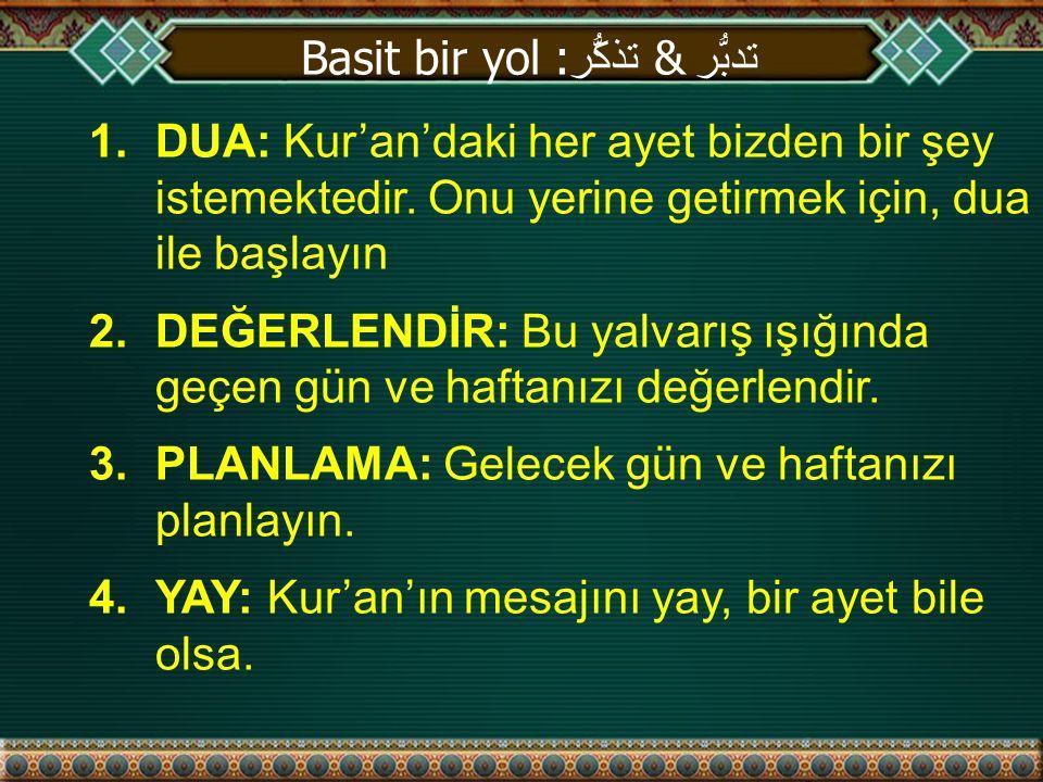 1.DUA: Kur'an'daki her ayet bizden bir şey istemektedir.
