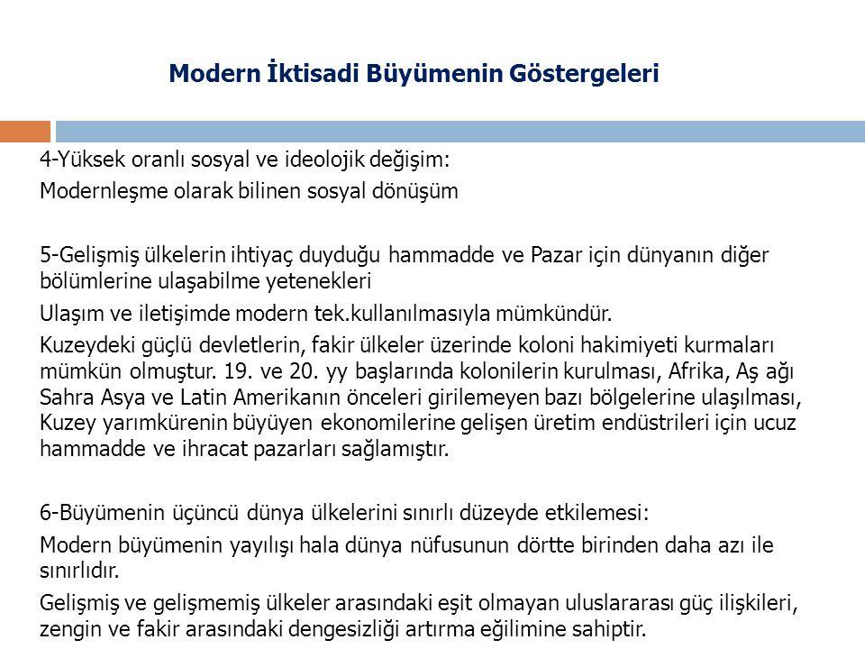 Modern İktisadi Büyümenin Göstergeleri 4-Yüksek oranlı sosyal ve ideolojik değişim: Modernleşme olarak bilinen sosyal dönüşüm 5-Gelişmiş ülkelerin iht