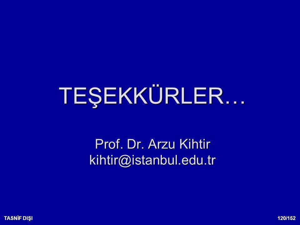 120/152TASNİF DIŞI TEŞEKKÜRLER… Prof. Dr. Arzu Kihtir kihtir@istanbul.edu.tr