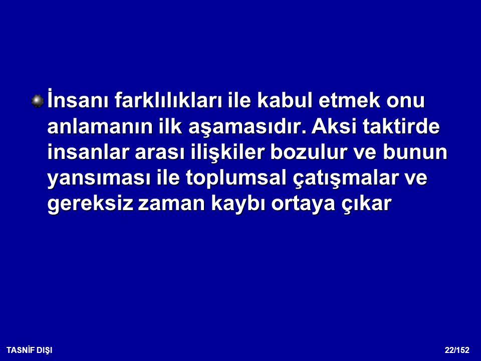 22/152TASNİF DIŞI İnsanı farklılıkları ile kabul etmek onu anlamanın ilk aşamasıdır.
