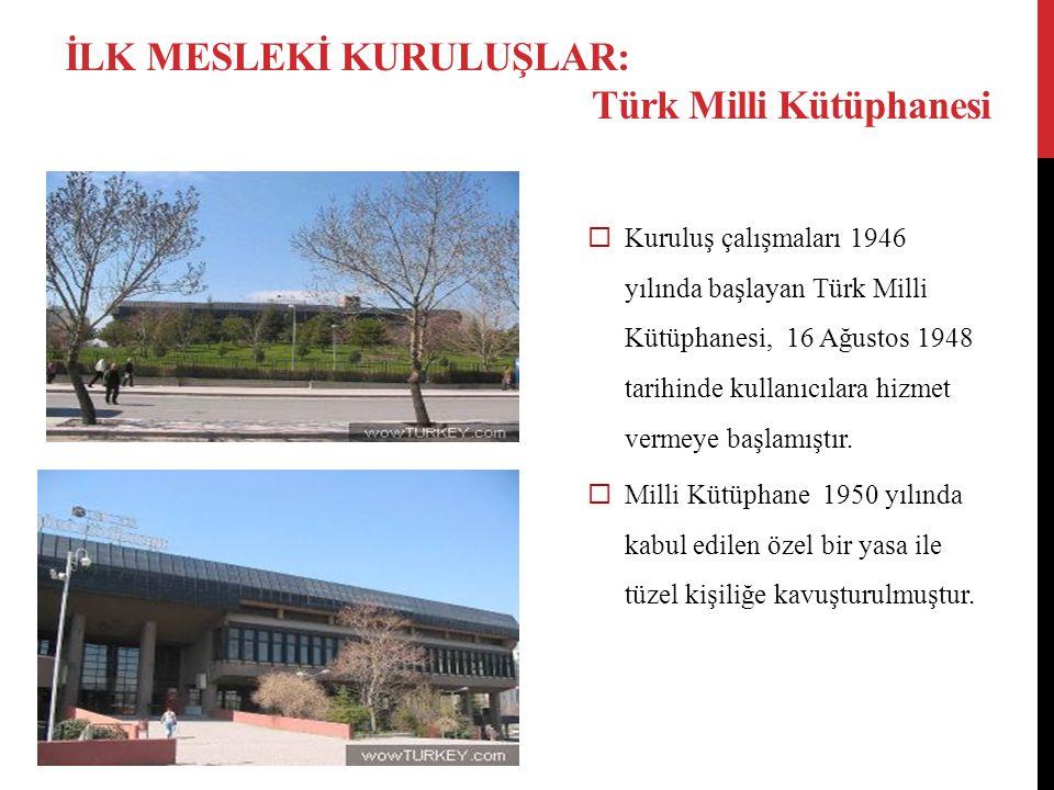  Kuruluş çalışmaları 1946 yılında başlayan Türk Milli Kütüphanesi, 16 Ağustos 1948 tarihinde kullanıcılara hizmet vermeye başlamıştır.  Milli Kütüph