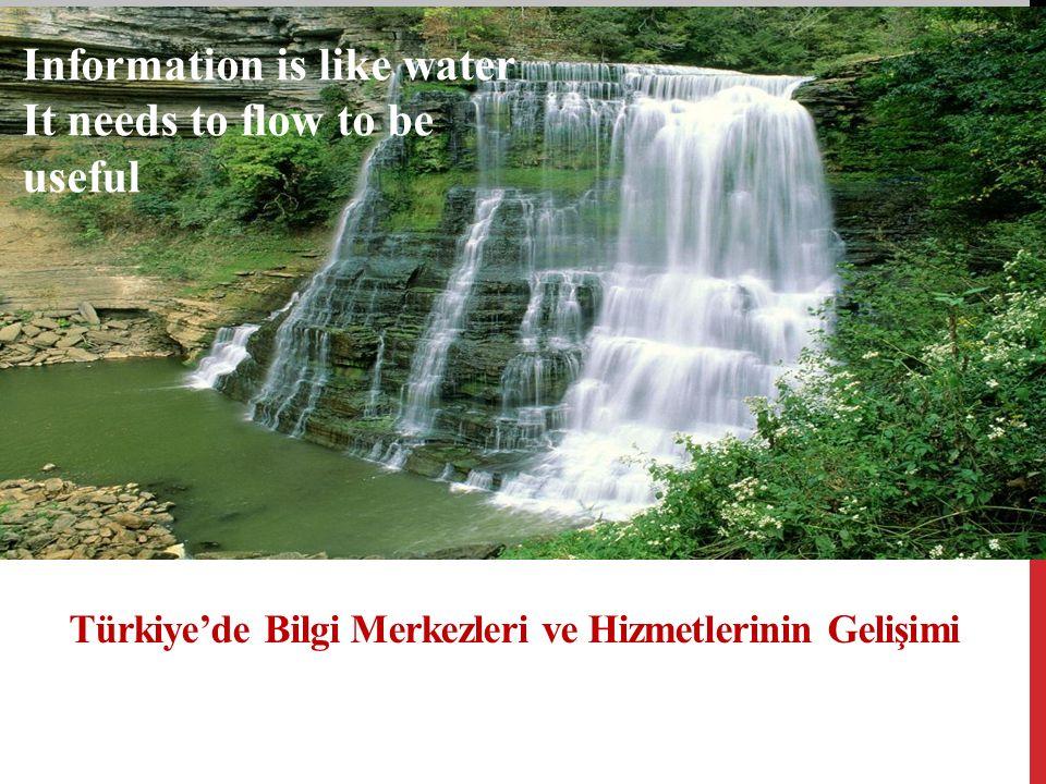 Türkiye'de Bilgi Merkezleri ve Hizmetlerinin Gelişimi Information is like water It needs to flow to be useful
