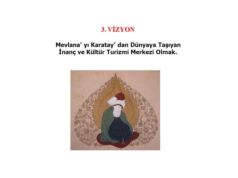 3. VİZYON Mevlana' yı Karatay' dan Dünyaya Taşıyan İnanç ve Kültür Turizmi Merkezi Olmak.